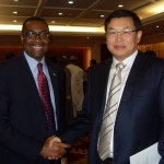 Hon. Minister of Agriculture and Rural Development, Dr. Akinwumi Adesina, discussing (shaking hands) with the Vice President of China EXIM Bank, Mr. Sun Ping, at the headquarters of the Bank (on Friday), in Beijing.