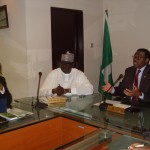 Mr. Foluso Philips (left), chairman of NESG, Minister of State for Agriculture and Rural Development, Bukar Tijani and Minister of Agriculture and Rural Development, Dr. Akinwumi Adesina, when the NESG team paid the minister a visit at his office in Abuja yesterday (Monday).