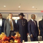 Adesina (left), Bill Gates, President Jonathan, Kofi Annan, and Dr. Kanayo Nwanze, President of the International Fund for Agricultural Development (IFAD) at the Eminent Persons Group