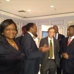 Left, Permanent Secretary Ibukun Odusote, Adesina, Gates, Sani Dangote (right)
