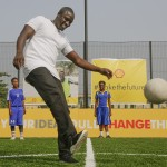 Shell collaborates with Akon, unveil Africa's first player, solar powered football pitch in Lagos