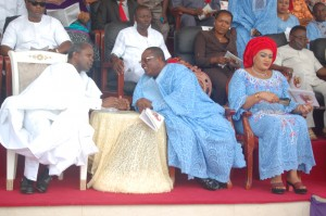 L-R: Governor David Umahi of Ebonyi (centre); Vice President, Prof. Yemi Osinbajo (left); and wife of Ebonyi State Governor, Rachel Umahi, during a Thanksgiving Service in honour of the mother of the governor in Uburu on Sunday. Photo: EBSG