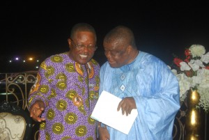 Governor David Umahi of Ebonyi State (left) and Rev.   Uma Ukpai at the Service of Songs in honour of the mother of  the governor  at Osborn La Palm Hotel Event Centre in Uburu, Ohaozara Local Government Area ...on  Monday. Photo: EBSG