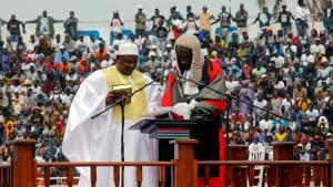 Adama Barrow sworn in on home soil as president