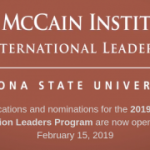 The McCain Institute Next Generation Leaders Program: 2019 Applications and Nominations Open