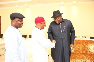 From Right: Governor Seriake Dickson of Bayelsa State, felicitates with his Abia State Counterpart, Chief Theodore Orji, while the host Governor, Dr. Emmanuel Oduaghan of Delta State, looks on with delight, at the South-South/South-East PDP Governors/Leaders Forum held in Asaba.