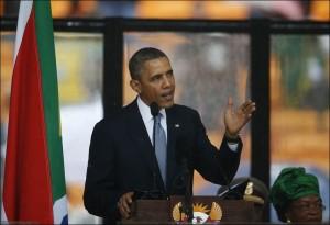 Obama speaks at the Mandela Memorial
