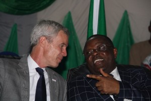 L-R: USAID Mission Director in Nigeria, Mr Michael T Harvey and Governor Dave Umahi of Ebonyi State during official handover of long lasting Insecticidal Nets to the State Government in Abakaliki on Wednesday.