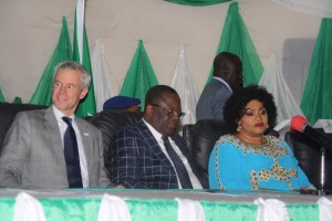 L-R: USAID Mission Director in Nigeria, Mr Michael T Harvey; Governor Dave Umahi of Ebonyi State; and wife of the Governor, Rachael Umahi during official handover of long lasting Insecticidal Nets to the State Government in Abakaliki on Wednesday.