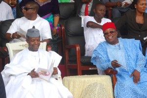 Governor David Umahi of Ebonyi and Vice President, Prof. Yemi Osinbajo, during a Thanksgiving Service in honour of the mother of the governor in Uburu on Sunday. Photo: EBSG