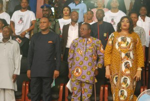 Governor David Umahi of Ebonyi State (centre); his wife, Rachel and  Deputy Governor Kelechi Igwe  at a  Service of Songs in honour of the governor's mother at Osborn La Palm Hotel Event Centre,  Uburu in Ohaozara Local Government Area on   Monday. Photo: EBSG