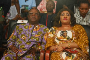 Governor David Umahi of Ebonyi State and his  wife, Rachel,at the service of songs in honour of   the mother of the  governor  at Osborn La Palm Hotel Event Centre,  Uburu in  Ohaozara Local Government Area on  ... Monday. Photo: EBSG