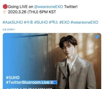 """EXO's Suho celebrates his first solo EP """"Self-Portrait"""" with a 'Live' #TwitterBlueroom Session"""